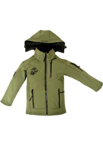 OD Green USMC Marines Embroidered Softshell Youth Jacket