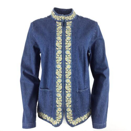zippé en brodé col Veste bleu jean foncé Orvis avec 6OwqTXd
