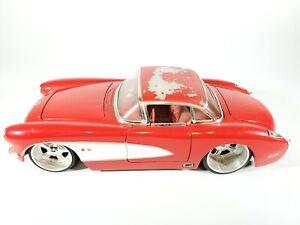 Jada-1-24-Big-Time-Musculo-1957-Chevrolet-Corvette-Red-Diecast-Modelo-de-Coche