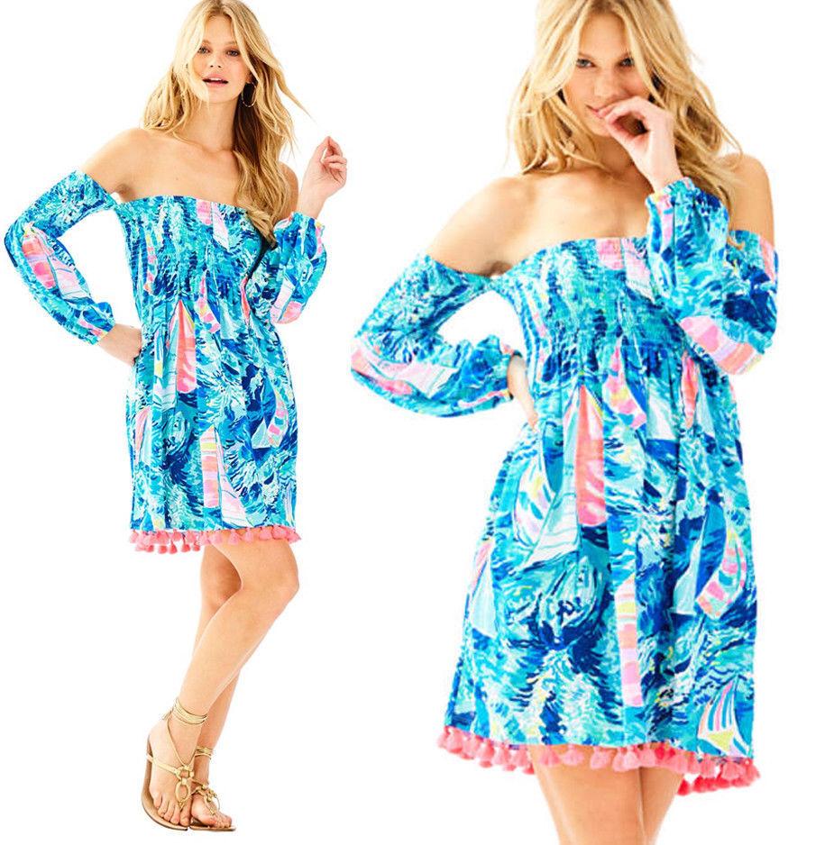 New Lilly Pulitzer TRINA OFF THE SHOULDER BEACH DRESS Sparkling Blau S XL