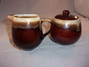 Vintage McCoy Pottery Brown Drip Glaze Creamer and Covered Sugar Bowl Set 7020