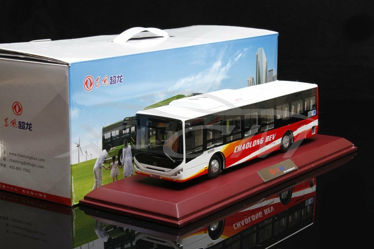 Diecast Bus Model Dongfeng Chaolong BEV 1 40 (White Red) + GIFT