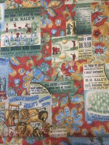Orange-Green-Vintage-The-Circus-396-100-Cotton-Quilting-Craft-Fabric-Benartex