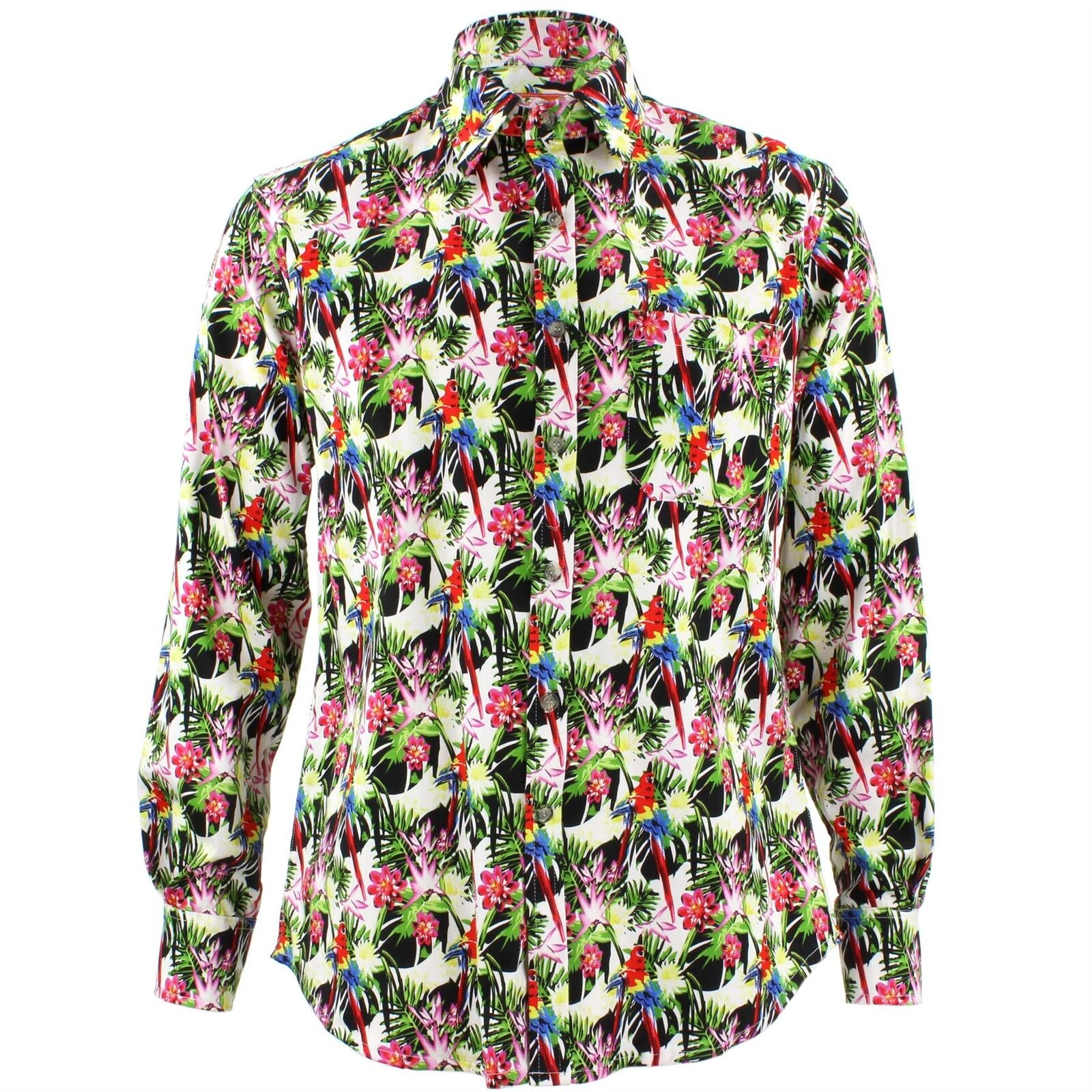 Men's Loud Shirt Retro Psychedelic Funky Party TAILORED FIT Palms Parreds