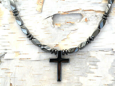 Men/'s Powerful Magnetic Hematite CROSS NECKLACE PIETERSITE STRONG Free Shipping