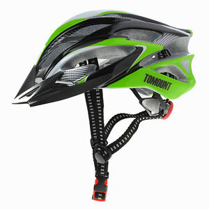 Bike Bicycle Cycling Helmet with Visor Adjustable Green + Black + White Stylish