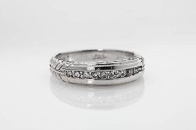 Estate $3000 .50ct Diamond 18k White Gold 6mm Wedding Band Ring