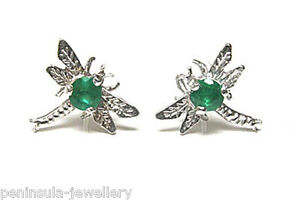 9ct White Gold Emerald Studs Dragonfly Earrings Gift Boxed Made in UK
