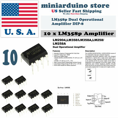 USA Fast Ship 20PCS LM358 LM358P Dual Low Power Operational Amplifier DIP-8