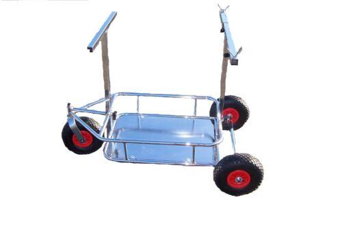 Kart Chrome Three Wheel Trolley Plastic Pneumatic Wheels UK Manufactured New