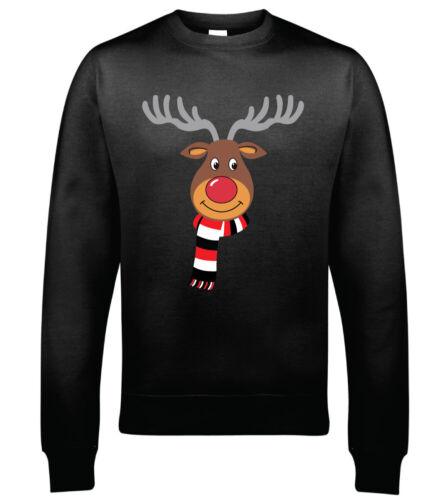 MUFC Scarf Wearing Reindeer  Christmas Sweatshirt Hoodie Christmas Jumper