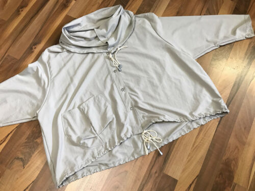 MYO-Lagenlook BIG-Oversized Kapuzen-Kasten-Jacke TAFT BEIGE ONE SIZE 80 cm Weite