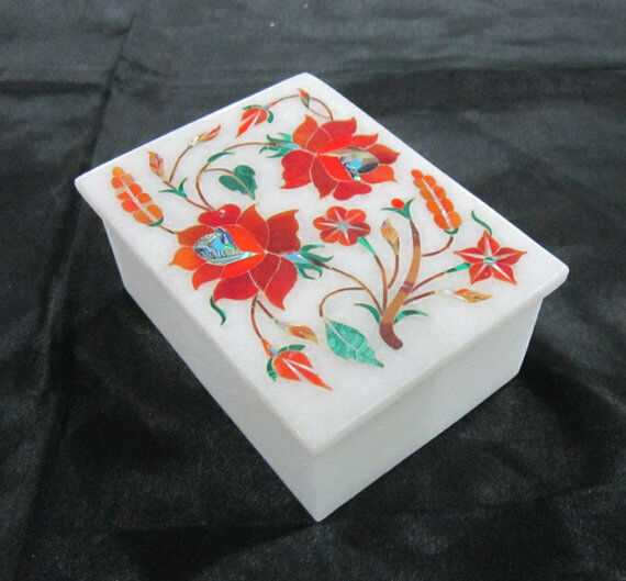 Marble Box Semi Precious Stones floral inlay handmade Work home decor gift