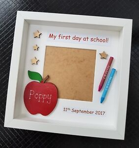 Personalised My First Day At School Nursery Pre Box Photo Frame