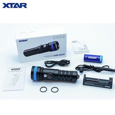 US SELLER LED Diving Flashlight FULL SET XTAR D26 1600 UPDATED 2020 MODEL