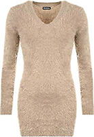 Soft Touch Smooth Fluffy Jumper V Neck Fur Sweater Top