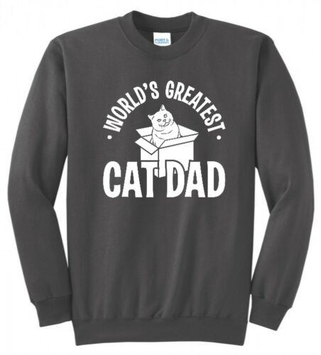 WORLDS GREATEST CAT DAD FATHERS DAY GAG GIFT KITTY MENS FUNNY SWEATSHIRT