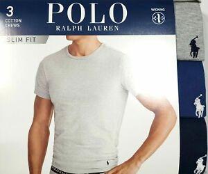 Details about Polo Ralph Lauren SLIM FIT 3 Pack Cotton Crew Neck T Shirt $42, WHITE OR COLOR