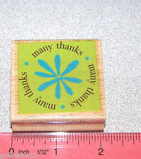 many thanks Stamp New Wood Mounted Rubber Stamp with Flower Design Size 2 x 2