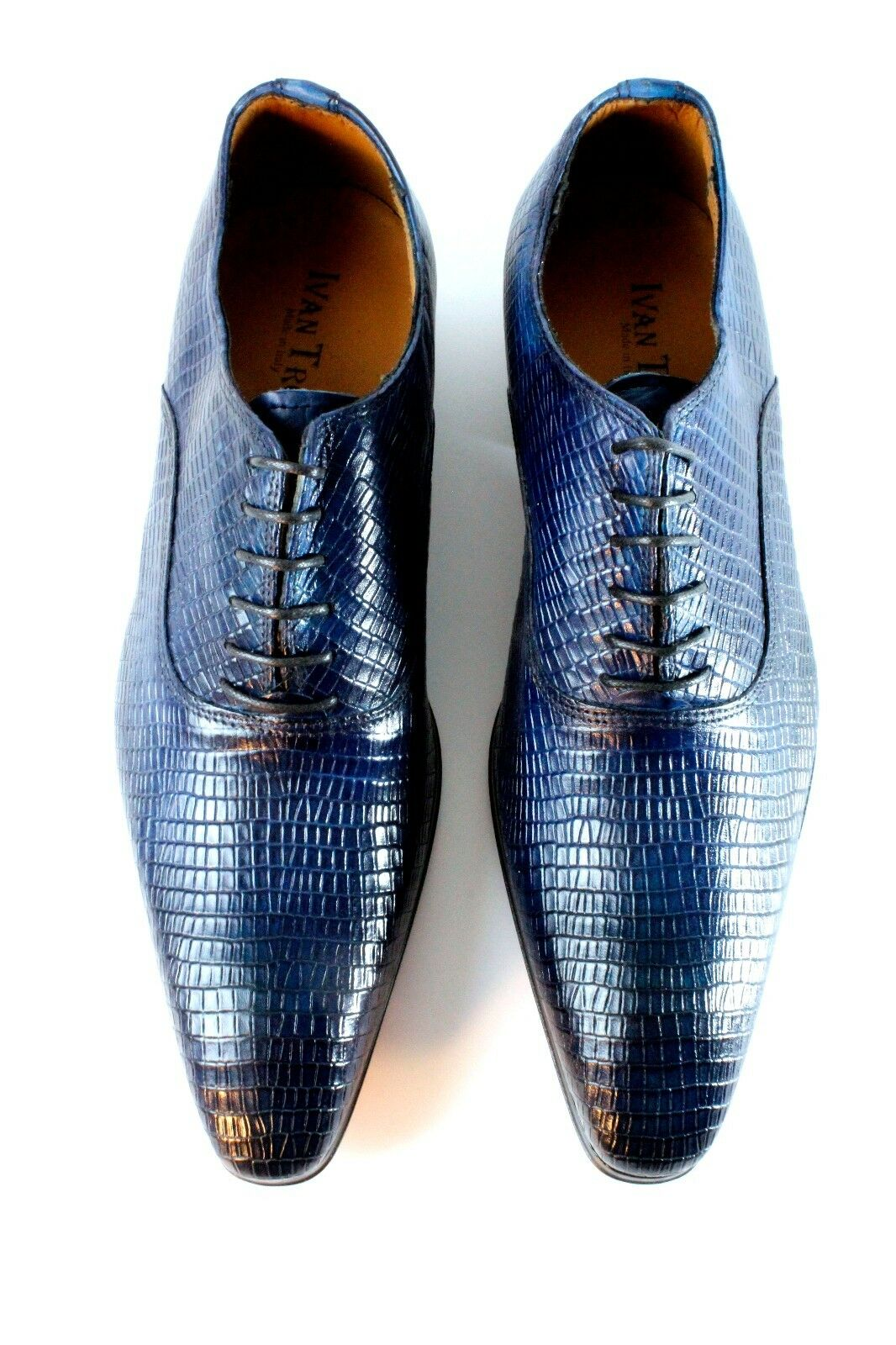 IVAN TROY Blue Blue TROY Small Rec Handmade Uomo Italian Leather Dress Shoes/Oxford Shoes fdc0ba