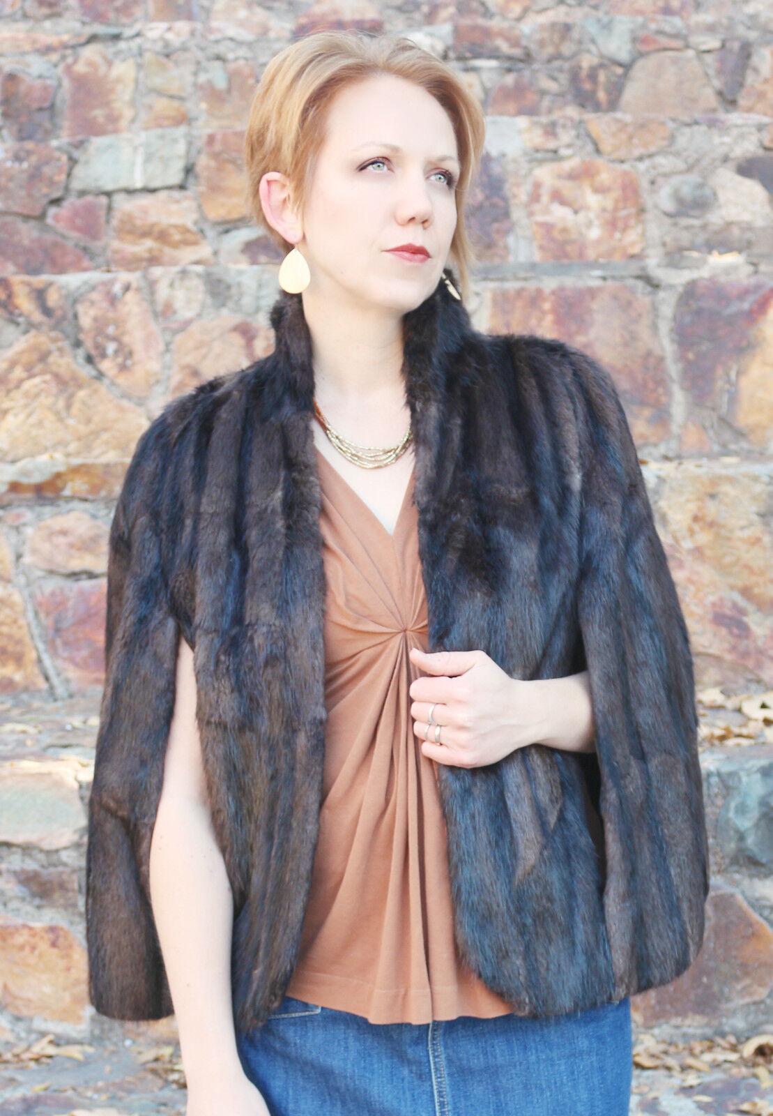 VINTAGE RACOON CAPE Women's or Fur Coat Custom Size {S. Hessner} EXCELLENT!
