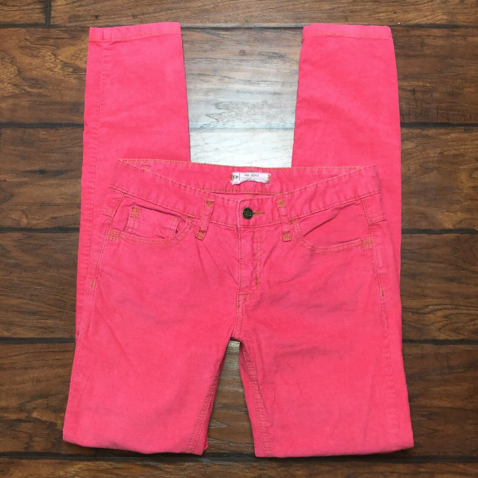 Free People Corduroy Skinny Jeans Size 27 Womens Pink Slim Stretch