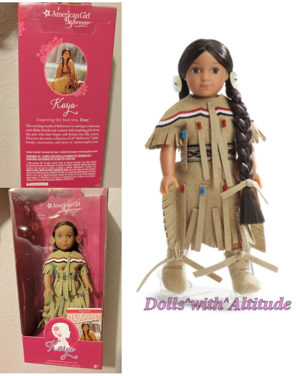 """American Girl 2016 Special Edition 6.5/"""" Mini Doll KAYA Deerskin Outfit NEW"""