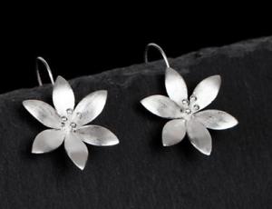 Ohrringe 925 Sterling Silber Blume Damen Ohrringe Ohrschmuck Frau Elegant Edel
