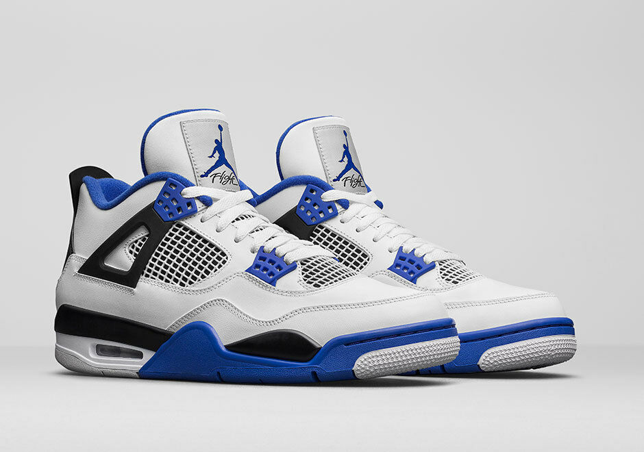 Nike Jordan 4 Retro Motorsports Size 6-17 White/Varsity Blue-Black 308497-117