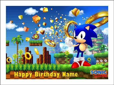 Awesome Sonic The Hedgehog Edible Icing Image Birthday Cake Topper Party Personalised Birthday Cards Veneteletsinfo
