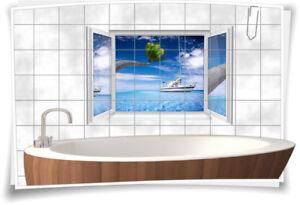 Details zu Fliesenaufkleber Fliesenbild Fliesen Fenster Aufkleber  Badezimmer Bad Deko WC