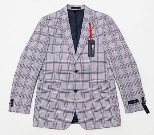 $295 NWT TOMMY HILFIGER Modern-Cut Red//White//Blue Plaid Stretch Blazer Jacket