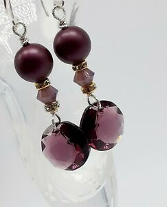 Sterling-Silver-Amethyst-Swarovski-Crystal-Pearl-Drop-Earrings