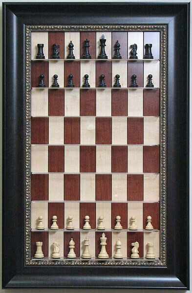 Straight Up Chess Board-rouge Maple Chess Board avec 3 1 2  Dark Bronze re