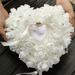 Wedding Ceremony White Satin Crystal Flower Ring Bearer Pillow