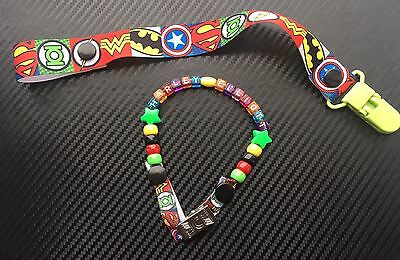 Set Boys Personalised Dummy Clip And Superhero Holder Marvel Batman Spiderman Selling Well All Over The World