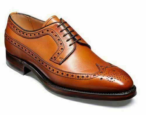 Vestido Formal de cuero Zapatos Para Hombre Hecho a Mano Bronceado Oxford Brogue punta del ala Informal botas
