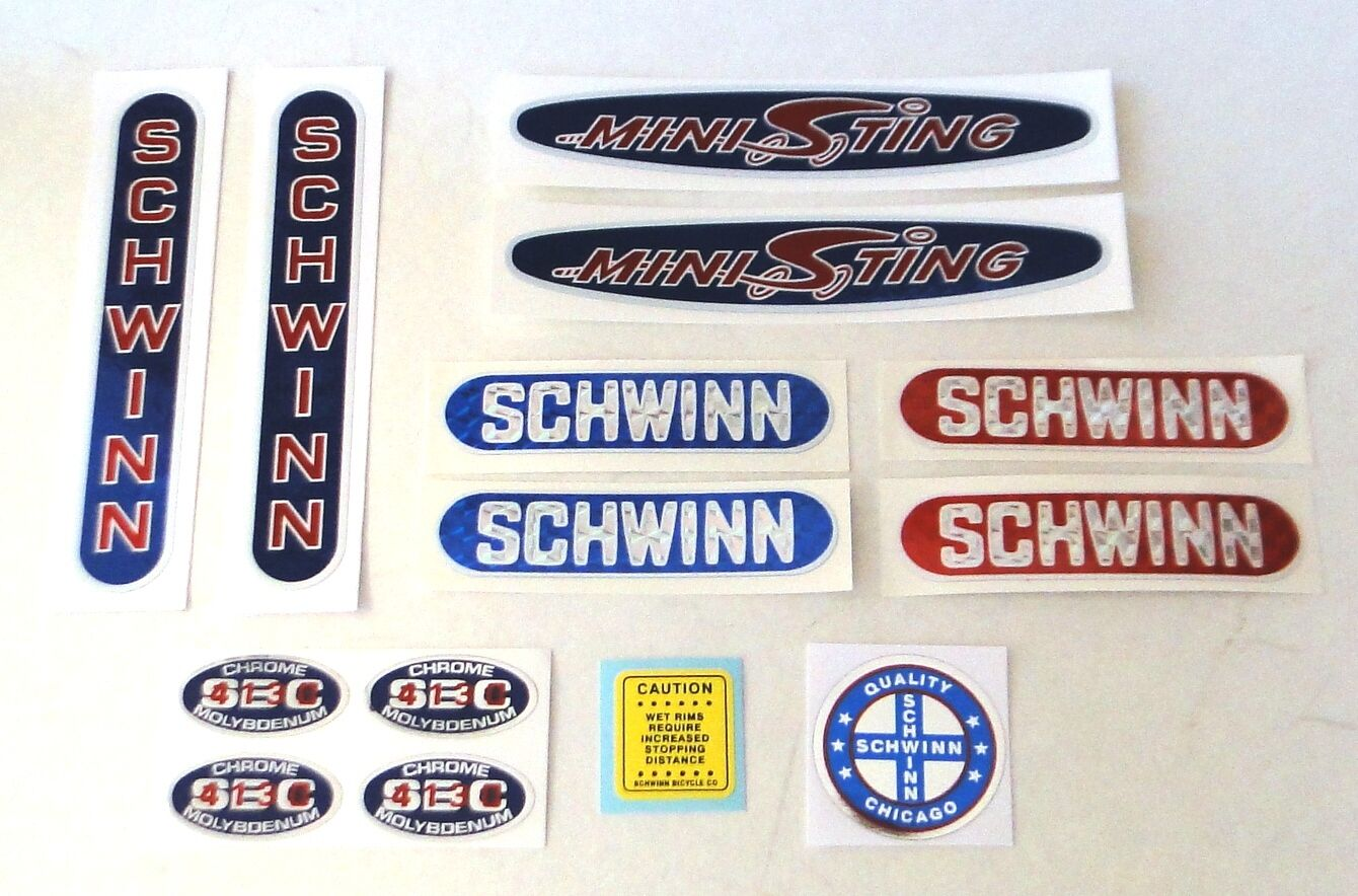 Officially licensed 1979-81 Schwinn Mini Sting complete BMX bicycle decals set