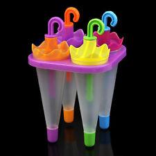 4 Umbrella Shape Make Frozen Juice Ice Cream Lolly Yogurt Popsicle Maker Molds