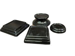 BAGLEY-ART-DECO-BLACK-JETIQUE-GLASS-PLINTH-STANDS-BASES