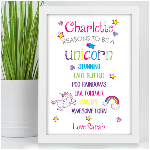 PERSONALISED Reasons to be a Unicorn Wall Art Print Gifts for Girls Her Friend