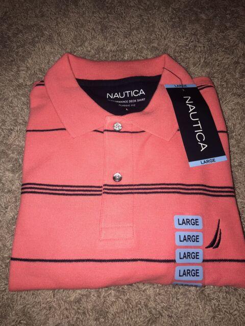 NWT Men's Nautica Polo Shirt Size MEDIUM Coral Short Sleeve MSRP $60