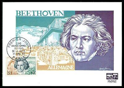France Mk 1963 Beethoven Musik Komonist Composer Carte Maximum Card Mc Cm Am77 Durable Modeling Stamps