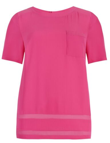 ref 779 MARKS AND SPENCER LADIES SHEER PANEL SHORT SLEEVE TOP PINK NEW