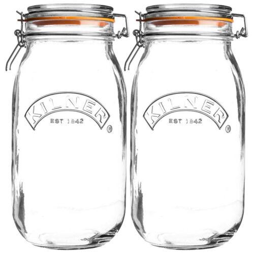 Kilner 2pcs Clip Top Round 1.5L Glass Jar Jam Coffee Storage Holder Kitchenware