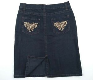 Rockmans-Denim-Knee-Length-Straight-Skirt-Embroidery-Women-039-s-Size-10-RRP-49-99