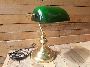 Détails sur Lampe Bureau Notaire Banquier Bibliotheque Opaline Verte A Tirette
