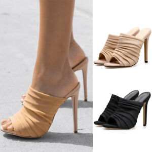 Women-Gauze-Crinkle-Mules-Ladies-Peep-To-High-Heels-Sandals-Stiletto-Shoes-Party