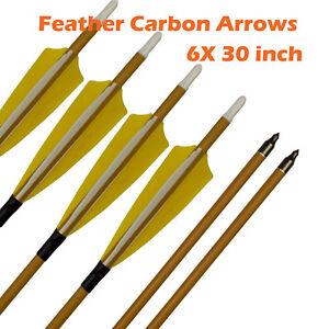 """6PCS 32/"""" SP 500 Carbon Arrows F Recurve Compound Bow Archery Changable Arrowhead"""