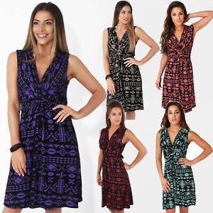 Womens-V-Neck-Mini-Dress-Small-Sizes-Short-Skirt-Tribal-Print-Front-Knot-Party